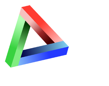 BMI logo, red, green and blue Penrose triangle, tilted slightly to one side